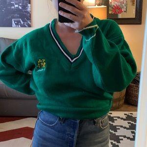 VINTAGE Varsity Style V-neck Green Sweater